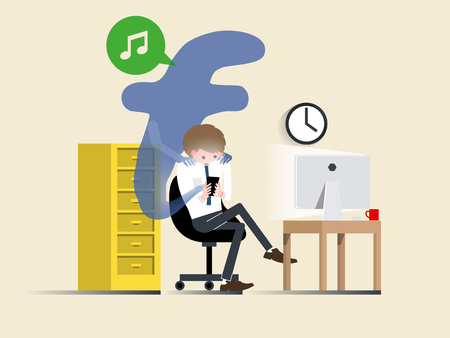 illustration vector of business man using smartphone as a marionette controlled, business man is controlled by smartphone, social network smartphone addiction design concept