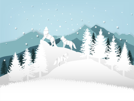 background illustration vector of wolf howling in forest with snow in the winter season and christmas tree, vector paper art style of winter and chirstmas season design concept