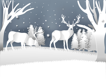 Illustration vector reindeer in winter forest with snow in winter season and Christmas day, winter vector paper art style design concept.