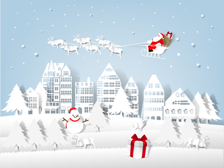 Illustration vector of Christmas and New Year, illustration of Santa Claus in the sky above the city ,paper art and craft style design concept of christmas and newyear