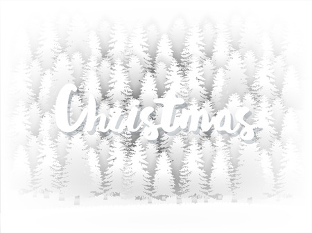 An illustration vector design concept of holiday season, white Christmas tree forest background