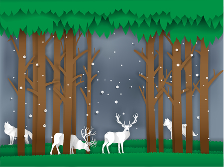 illustration vector of reindeer in winter forest paper style, christmas winter season vector background design concept Çizim