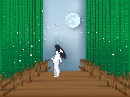 Illustration vector of Japanese bamboo forest in paper style.