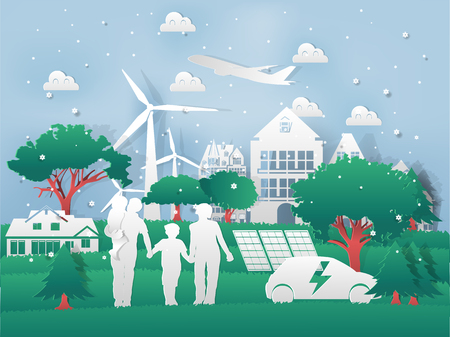 Illustration vector of modern eco world environment and happiness family,graphic design of eco modern world in paper art style Çizim