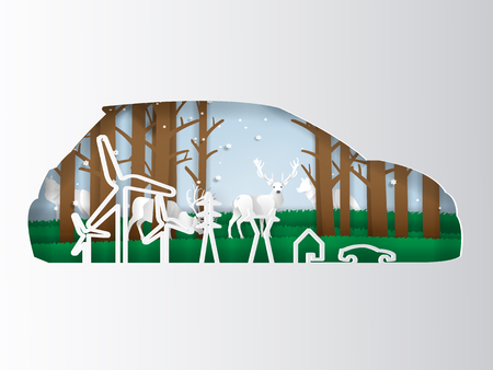 illustration vector concept of eco car eco world and nature environment, paper art and craft style design concept of ecological world Çizim