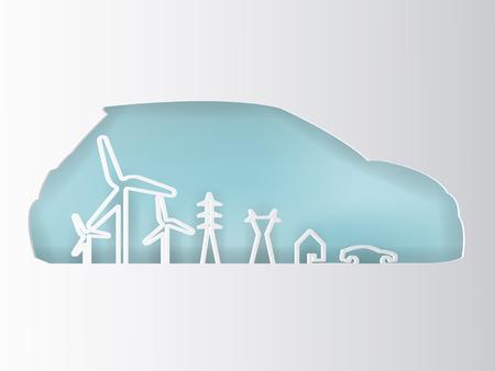 Illustration of renewable energy power system concept design.