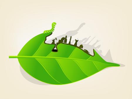 illustration vector graphic design concept of environmental destructior in story of worm eating leaf, global warming concept