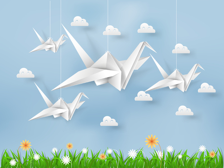 Illustration vector of white origami paper bird flying on blue sky over field of grasses and flower with cloud, beautiful environment in paper art and craft style. Çizim