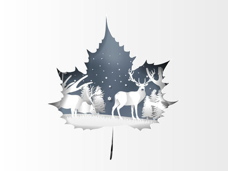 Illustration of reindeer in winter forest with snow in winter season and Christmas day.