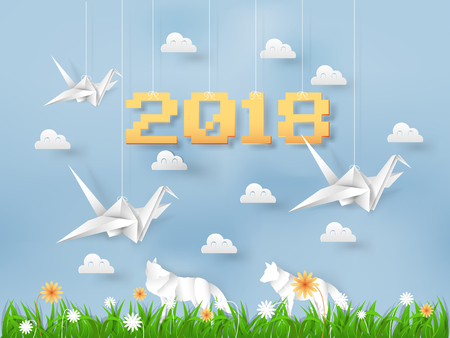 illustration vector of new year summer season bird origami flying in the field of grasses and flowers, paper art and craft style Çizim