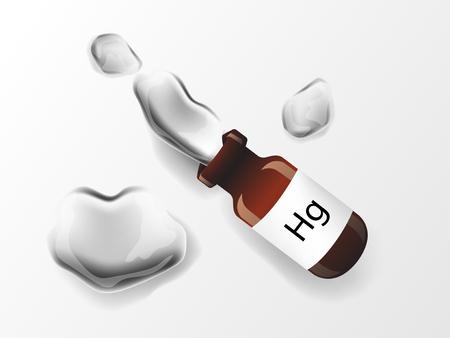 Ilustración de metal brillante de mercurio (Hg) en botella de vial.