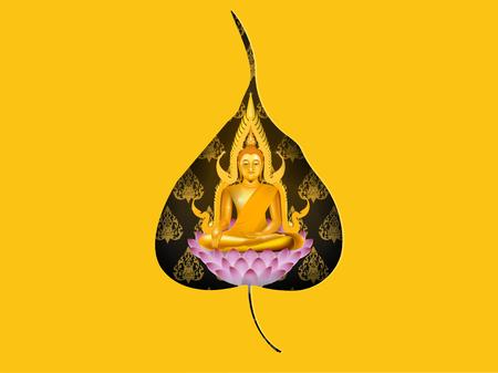 illustration vector of buddha sitting on lotus, religion of buddha design concept