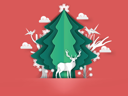 Illustration vector of merry christmas in paper craft art, beautiful paper art design concept of christmas winter season, christmas new year origami Çizim