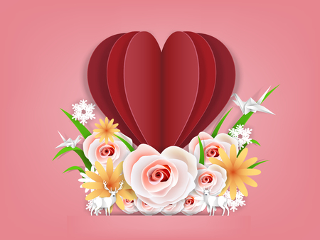 Illustration vector of valentines day design concept, origami paper art design concept of valentines day.