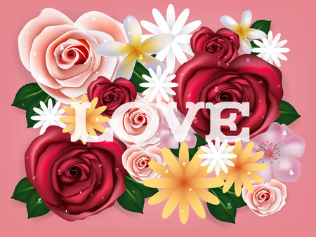illustration vector realistic of beautiful rose flowers background with love text. Graphic design concept of flower wallpaper. Spring season concept.