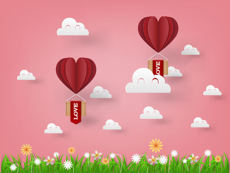 Illustration vector design concept of love and Valentines day, origami heart vector hot air balloon flying on the sky, paper art style.