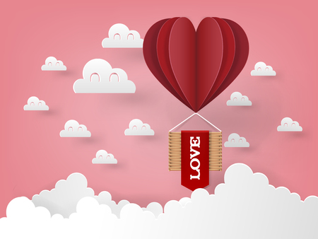 Illustration vector design concept of love and valentines day, origami heart vector hot air balloon flying on the sky, paper art style. Çizim