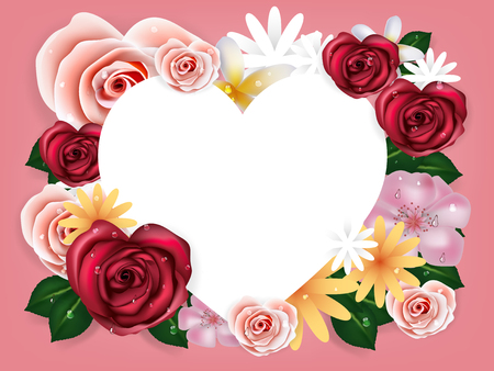 illustration vector realistic of beautiful rose flowers background with copy space in heart form. Çizim