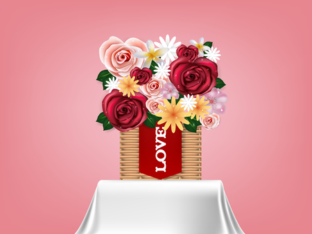 beautiful realistic illustration vector of flowers in basket on tablecloth, graphic design concept of flower valentines day