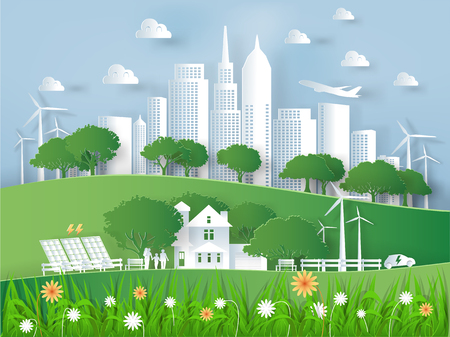 Illustration vector of modern eco city world environment and happiness family,graphic design of eco modern city in paper art style