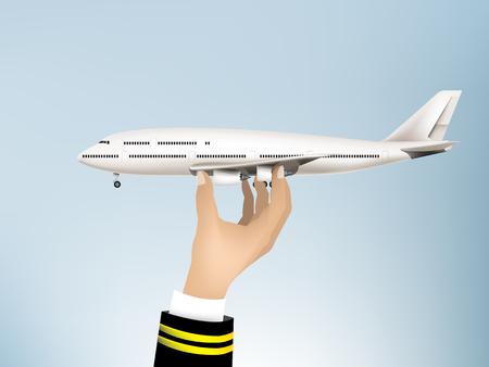 Vetor de ilustração realista da mão piloto segurando o avião do ar no céu, jato avião comercial sobre fundo de céu azul, vector avião detalhada alta, aviões de viagem de conceito de companhia aérea Foto de archivo - 94145521