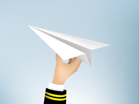 realistic illustration vector of pilot hand holding origami paper air plane in the sky, jet commercial airplane origami paper on blue sky background, airline concept travel planes Çizim