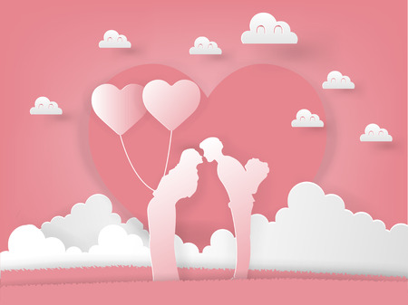 Illustration vector of paper art origami couple is kissing with roses and balloon on pink background, graphic design concept of valentines day