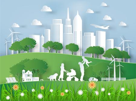 Illustratievector van het moderne milieu van de ecowereld en gelukfamilie, grafisch ontwerp van de moderne wereld van eco in document kunststijl