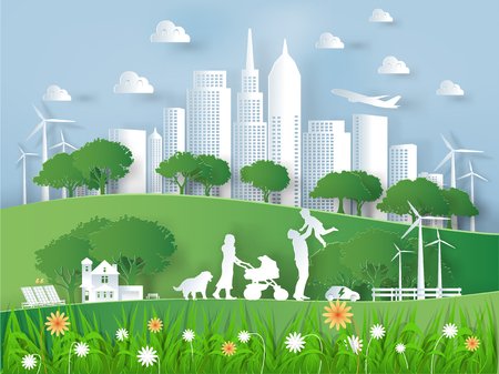 Illustration vector of modern eco world environment and happiness family,graphic design of eco modern world in paper art style Ilustração