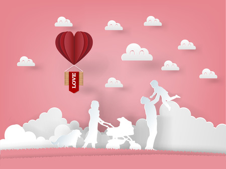illustration vector of paper art origami family consist of father, mother, childs and dog with heart balloon on pink background, graphic design concept of valentines day