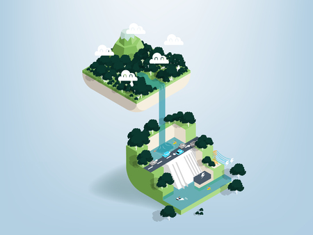 Graphic design concept of forest dam in isometric view, illustration vector of dam in forest Illustration