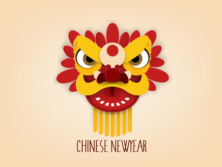 graphic design vector concept of Chinese new year, vector of lion dance Chinese new year