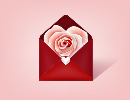 graphic design concept of love valentines day, beautiful realistic rose in red envelope on pink background  イラスト・ベクター素材