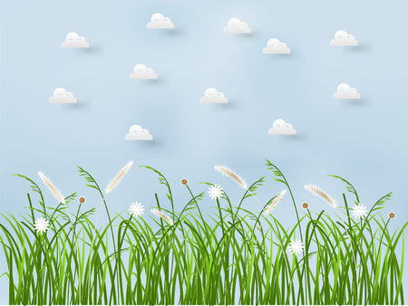 beautiful graphic design background of spring grass flower on blue sky with clouds  イラスト・ベクター素材