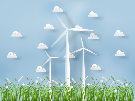 paper style of wind turbine with grass on nature background  イラスト・ベクター素材