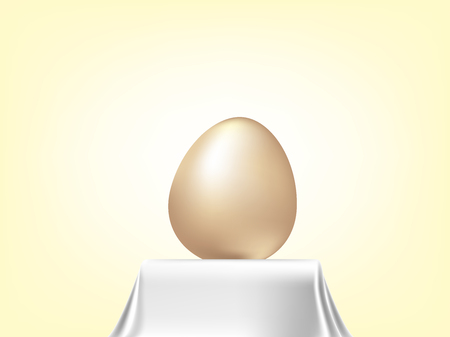 Vector element for design. golden Easter eggs on white tablecloth  イラスト・ベクター素材