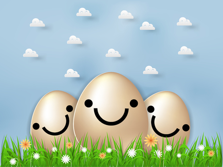 Beautiful graphic design concept of easter eggs with flowers and grasses with sky background  イラスト・ベクター素材