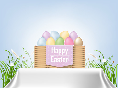 Colorful Easter eggs in a basket with grass background, graphic design concept of Happy Easter Day.