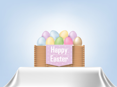 colorful Easter eggs in a basket on tablecloth, graphic design concept of Happy Easter Day