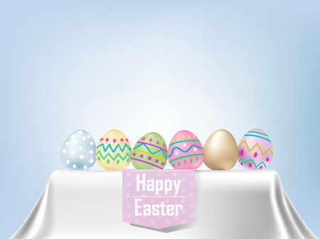 illustration vector of colorful Easter eggs on table with white tablecloth. Graphic design concept of happy easter day.