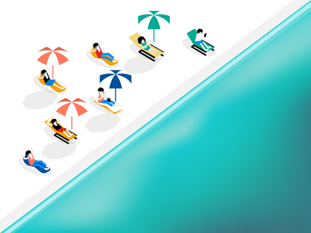 Isometric graphic design concept of people relaxing on the white sand beach, summer design concept.  イラスト・ベクター素材