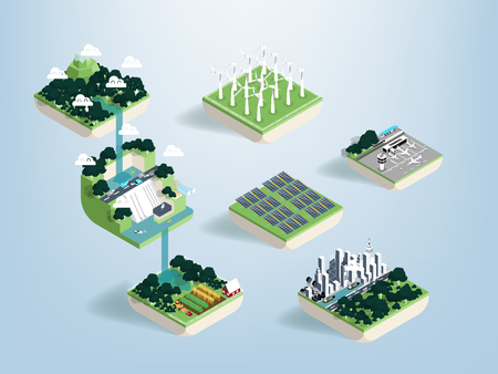 Graphic design vector of water resources and benefit of water, green ecology elements, renewable energy and background, environment friendly concept, illustration vector of forest and water  イラスト・ベクター素材