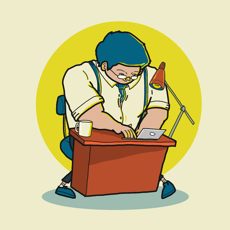 Free hand illustration cartoon of business working on his desk