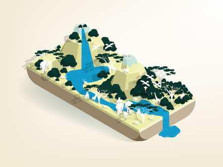 illustration vector isometric design of africa wild life, savannah wild life isometric design concept  イラスト・ベクター素材