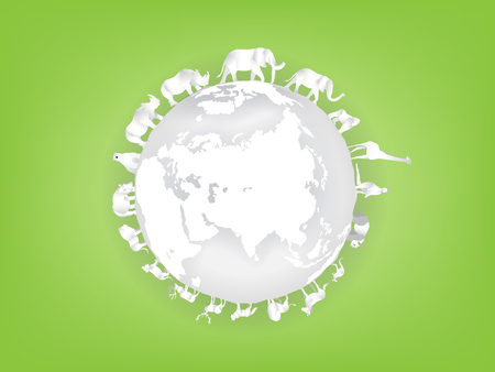 illustration vector of animal around the earth, graphic design concept of wild life on earth
