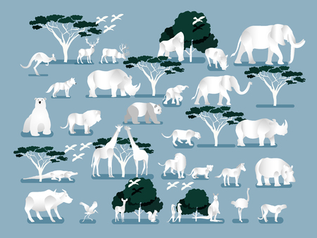 illustration vector of wild jungle, Savannah and forest animals, birds, Graphic design concept of wild life.