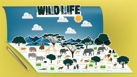 Illustration vector design concept of animal wildlife pop up book, Pop-up book with africa savanna animal scenery  イラスト・ベクター素材