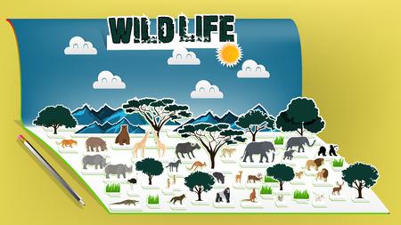 Illustration vector design concept of animal wildlife pop up book, Pop-up book with africa savanna animal scenery Illustration