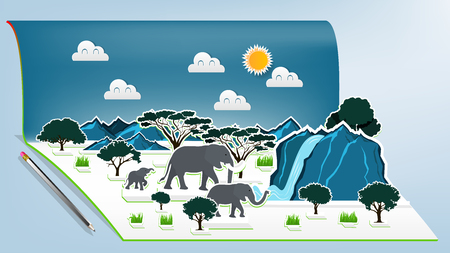 Illustration vector design concept of animal wildlife elephants family pop up book, Pop-up book with africa savanna elephant family scene