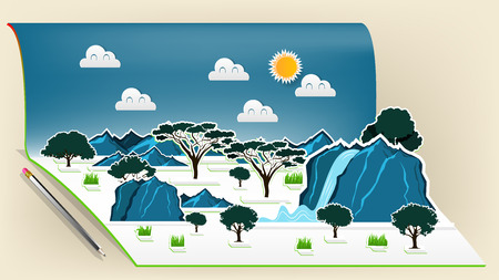 Illustration vector design concept of savanna wildlife pop up book, Pop-up book with africa savanna scene